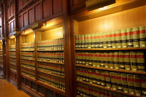 Many law books in the shelf's of library ** Note: Slight blurriness, best at smaller sizes